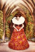 Red Hair Duchess in red Dress and Jabot in Ancient Abbey — Stock Photo