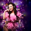 Stock Photo: Sparking. Shiny Happy WomDancing - Fancy Dress Party. Disco Lights