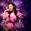 Stock Photo: Sparking. Shiny Happy Woman Dancing - Fancy Dress Party. Disco Lights