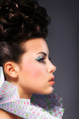 Renaissance. Noble Woman with Frill - Bright Hairstyle and Make Up — Stockfoto