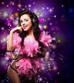 Sparking. Shiny Happy Woman Dancing - Fancy Dress Party. Disco Lights — Stock Photo