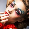Creativity. Shiny Woman Actress with Bright Make Up. Glamor - Photo