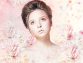 Beautiful Woman Face with Natural Makeup over Floral Rose Pattern — Stock Photo