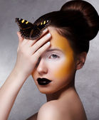 Trendy Woman with Butterfly. Creative Bright Make Up. Black Lips — Stock Photo