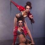Lewdness. Two Flirty Woman in Erotic Pose Enjoying Music. Glamor — Stock Photo
