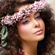 Closeup Portrait of Pretty Woman with Wreath of Pink Flowers. Natural Beauty — Stock Photo