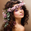 Nymph. Adorable Sensual Brunette with Garland of Flowers looks like Angel — Photo