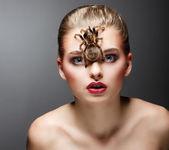 Predador aracnídeo assustador no rosto de mulher beleza sentado — Foto Stock