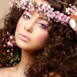 Maiden. Beautiful Neat Womwith Pink Romantic Wreath. Classy Brunette — Stock Photo #21109833