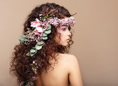Profile of Woman with Colorful Wreath of Flowers. Valentine's Day — Stok fotoğraf