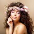 Постер, плакат: Complexion Classy Young Woman with Curly Hairdo Blush Face