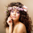 Stock Photo: Complexion. Classy Young Womwith Curly Hairdo - Blush Face