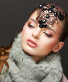 Fantasy. Russian Woman fashion Model with Brilliant Crown — Stock Photo