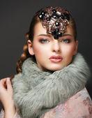 Elegance. Classy European Woman with Diamond Diadem. Jewellery — Stock Photo