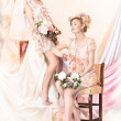Sophistication. Old-Fashioned Concept. Two Pin Up Girls in Retro Dresses. Luxury — Stock Photo