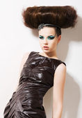 Futuristic Woman. Fantasy & Independence. Fancy Professional Coiffure — Stok fotoğraf