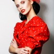 Refinement. Sophisticated Arrogant Womin Red PolkDot Dress with Crossed Arms. Fashion. Retro Style - Pin Up — Stock Photo #21640473