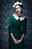 Romantic Young Styled Woman in Green Vintage Dress. Pin-up — Stock Photo
