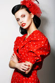 Refinement. Sophisticated Arrogant Woman in Red Polka Dot Dress with Crossed Arms. Fashion. Retro Style - Pin Up — Stock Photo