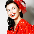 Retro Style. Elation. Portrait of Happy Toothy Smiling Woman in Pin Up Red Dress — Stock Photo