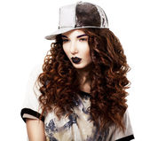 Glamour. Classy Red Hair Fashion Model in Futuristic Cap. Bright Makeup — Stock Photo