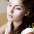 Tenderness. Face of Tranquil Refined Young Woman. Natural Makeup — Stock Photo #22056409