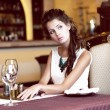 Luxury. Classy Romantic Woman in Restaurant. Expectancy - Stock Photo