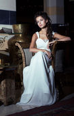 Wedding Style. Aristocratic Bride sitting in White Dress. Restaurant Interior — Stock Photo