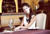 Luxury. Classy Romantic Woman in Restaurant. Expectancy — Stock Photo