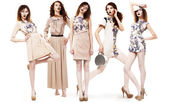Collage of Trendy Women in Light Seasonal Clothing. Glamour — Stock Photo