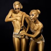 Coloring. Ridiculous, Comical and Humorous Women. Gold Metallic Make Up. Expression — Stock Photo