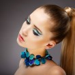 Allure. Profile of Sensual Woman with glazed Green - Blue Jewels. Relax — Stock Photo