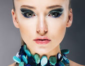 Glamorous Confident Woman in Semi Precious Turquoise Necklace close up — Stock Photo