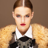 Elegance. Sophisticated Haughty Woman in Fur Collar. Lifestyle — Stock Photo