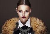 Beautiful Fashionable Strict Fashion Model in Fur Coat. Luxury — Stock Photo