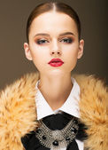 Glamour. Portrait of Honorable Fashionable Woman in Rufous Fur Collar — Stock Photo