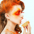Coloring. Creativity. Profile of Red-haired Woman eating a Cake with Cream. Blush - Stock Photo