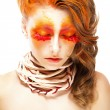 Stock Photo: Fiery Stylized Woman with Closed Eyes. Red False Lashes. Creative Make up