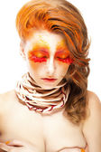 Fiery Stylized Woman with Closed Eyes. Red False Lashes. Creative Make up — Stockfoto