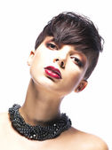 Portrait of Imposing Elegant Woman Brunette with Short Hair. Arrogance & Futurism — Stock Photo