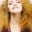 Youth. Beauty Portrait Of Frizzy Red Hair Womcloseup. Pretty Smile — Stock Photo #22784446