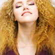 Stock Photo: Youth. Beauty Portrait Of Frizzy Red Hair Womcloseup. Pretty Smile