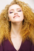Youth. Beauty Portrait Of Frizzy Red Hair Woman closeup. Pretty Smile — Stock Photo