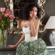 Stock Photo: Coquette. Curly Hair Womin Elegant Dress over Vintage Mirror