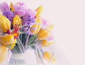 Greeting Card. Bouquet of Colorful Mixed Flowers - Tulips in a Vase. Floristics — Stock Photo