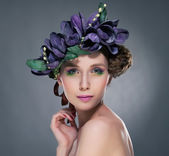 Charisma. Refined Shiny Brunette with Leaves and Flowers. Romance — Stock Photo