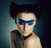 Haute Couture. Fantasy. Classy Woman with Blue Painted Mask and Modern Hairstyle — Stock Photo