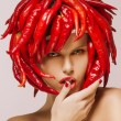 Glamour. Hot Chili Pepper on Shiny Woman's Face. Creative Concept — Stock Photo #23597079