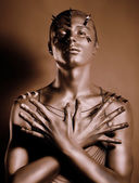 Coloring. Bodyart. Bronze Painted Man's Body in Shadow. Grace — Stock Photo