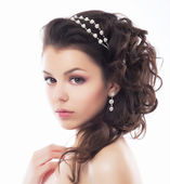 Luxury. Rich Stylish Brunette with Pearly Beads. Elegant Style — Foto de Stock